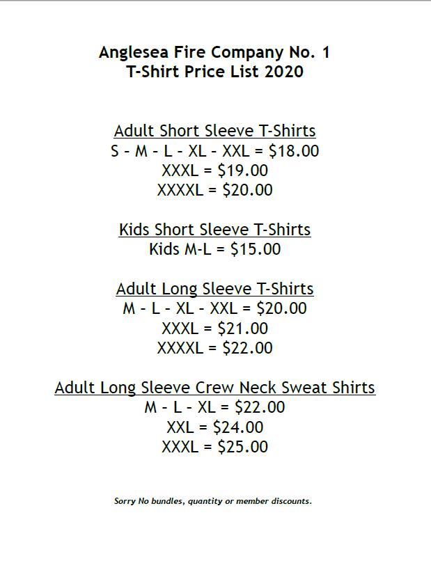 T-shirt Price List 2020